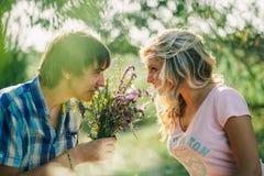 Datazione adolescente delle coppie sul picnic Fotografia Stock