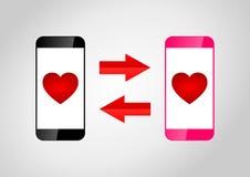 Datazione dei telefoni cellulari Immagini Stock Libere da Diritti