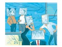 Datazione online La gente con i haeds del computer nella realtà virtuale Immagini Stock