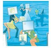 Datazione online La gente con i haeds del computer nella realtà virtuale Immagini Stock Libere da Diritti