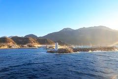 Datca Datca博德鲁姆渡轮的kairos小游艇船坞 库存照片