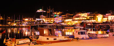 Datca Harbour Night Stock Images