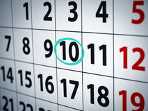 Date on the 10th. A date circled on a calendar with cyan ink Royalty Free Stock Photos