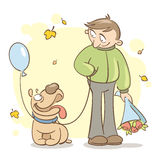Date. Illustration with young man and his dog waiting Royalty Free Stock Images