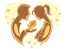 Date. Vector illustration with boy gives the girl a kitten Royalty Free Stock Image
