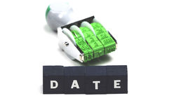 Date. The word date with a stamp behind it stock photos