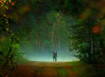 Date. Beautiful image of young couple dating in the forest Royalty Free Stock Photo