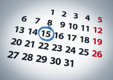 Date on the 15th. A date circled on a 15th day of a calendar with blue ink Royalty Free Stock Photography