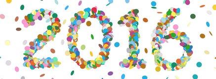 Date abstraite d'année de confettis - 2016 - vecteur coloré de panorama Image libre de droits