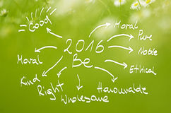 Date 2016 Be goals handwritten on  real green background.  Stock Images