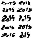 2015 date in black organic fluid fonts over white. 2015 date in black sharp fluid fonts over white stock illustration