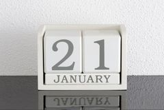 Date blanche 21 de présent de calendrier de bloc et mois janvier Photo libre de droits