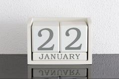 Date blanche 22 de présent de calendrier de bloc et mois janvier Images libres de droits