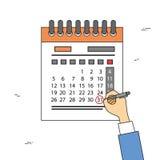 Date-butoir de mois de jour de Pen Red Circle Date Last d'aspiration de main de calendrier Photographie stock