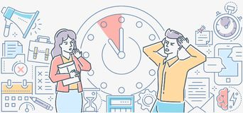 Date-butoir - ligne colorée moderne illustration de style de conception Illustration Libre de Droits