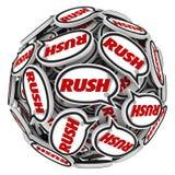 Date-butoir rapide d'urgence d'action de boule de bulles de la parole de Word de précipitation Image libre de droits