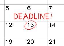 Date-butoir sur le calendrier photos libres de droits