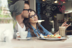 Date at cafe Royalty Free Stock Images