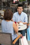 Date in a cafe Stock Photography
