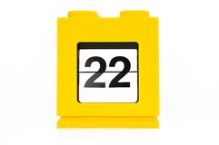 Date calendar. With yellow 22 Stock Image