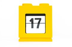 Date calendar. With yellow 17 Royalty Free Stock Photo