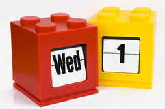 Date calendar. With yellow 1,wed red Royalty Free Stock Photo