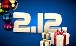 2 12 date calendar gift box christmas tree balls 3d illustration Royalty Free Stock Images