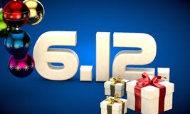 6 12 date calendar gift box christmas tree balls 3d illustration Stock Photography