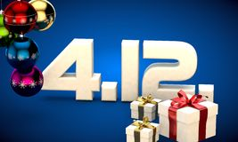 4 12 date calendar gift box christmas tree balls 3d illustration Royalty Free Stock Image