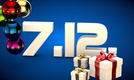 7 12 date calendar gift box christmas tree balls 3d illustration Royalty Free Stock Photo