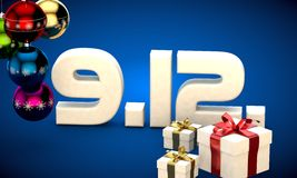 9 12 date calendar gift box christmas tree balls 3d illustration Stock Photos