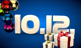 10 12 date calendar gift box christmas tree balls 3d illustration Royalty Free Stock Photo
