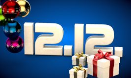 12 12 date calendar gift box christmas tree balls 3d illustration Royalty Free Stock Photos