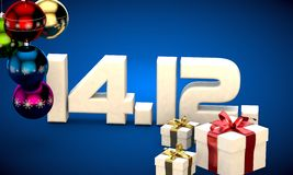 14 12 date calendar gift box christmas tree balls 3d illustration. Rendering vector illustration