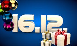 16 12 date calendar gift box christmas tree balls 3d illustration Stock Photography