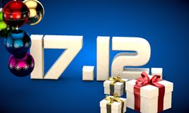 17 12 date calendar gift box christmas tree balls 3d illustration Royalty Free Stock Photo