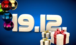 19 12 date calendar gift box christmas tree balls 3d illustration Royalty Free Stock Photo