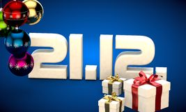 21 12 date calendar gift box christmas tree balls 3d illustration. Rendering stock illustration