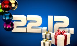 22 12 date calendar gift box christmas tree balls 3d illustration. Rendering royalty free illustration