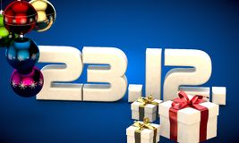 23 12 date calendar gift box christmas tree balls 3d illustration Stock Photography