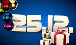 25 12 date calendar gift box christmas tree balls 3d illustration Stock Photo