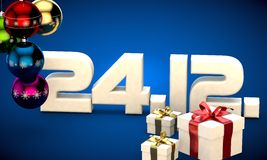 24 12 date calendar gift box christmas tree balls 3d illustration Stock Image