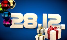 28 12 date calendar gift box christmas tree balls 3d illustration Stock Photography