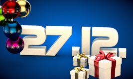 27 12 date calendar gift box christmas tree balls 3d illustration. Rendering vector illustration