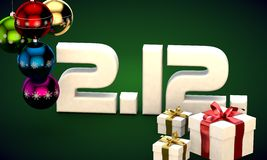 2 12 date calendar gift box christmas tree balls 3d illustration. Rendering royalty free illustration