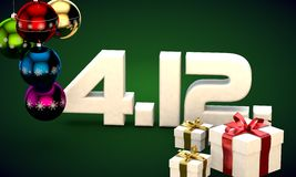 4 12 date calendar gift box christmas tree balls 3d illustration Royalty Free Stock Images