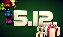 512 date calendar gift box christmas tree balls 3d illustration Stock Photography