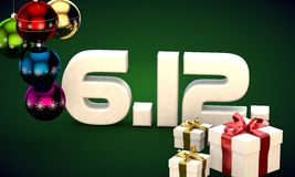6 12 date calendar gift box christmas tree balls 3d illustration. Rendering stock illustration