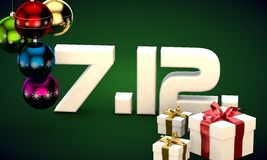 7 12 date calendar gift box christmas tree balls 3d illustration. Rendering royalty free illustration