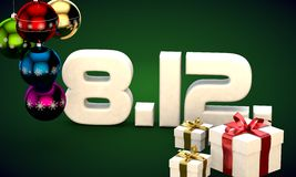 8 12 date calendar gift box christmas tree balls 3d illustration. Rendering stock illustration